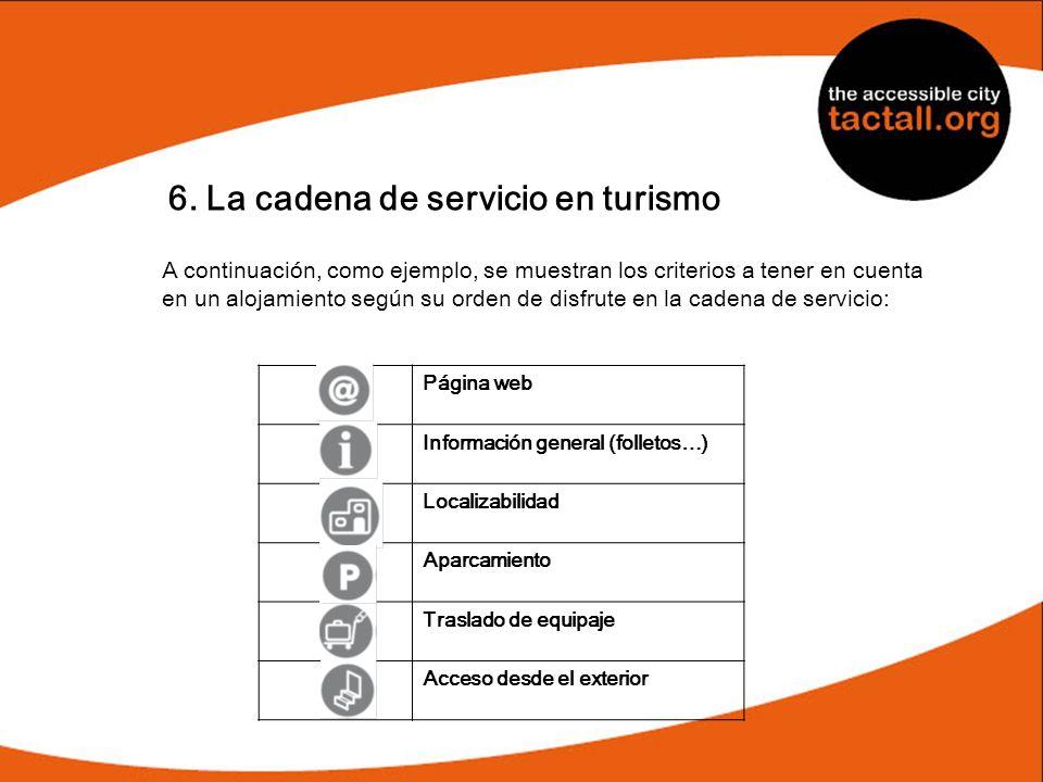 6. La cadena de servicio en turismo A continuación, como ejemplo, se muestran los criterios a tener en cuenta en un alojamiento según su orden de disf