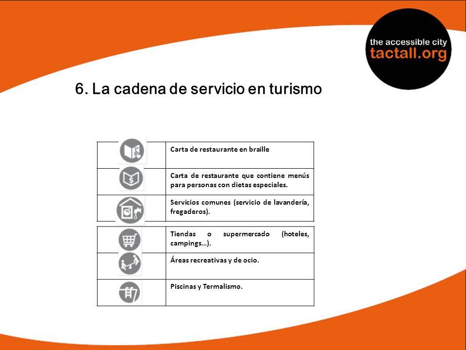 6. La cadena de servicio en turismo Carta de restaurante en braille Carta de restaurante que contiene menús para personas con dietas especiales. Servi