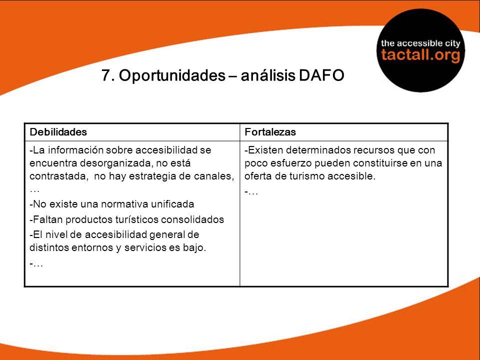 7. Oportunidades – análisis DAFO DebilidadesFortalezas -La información sobre accesibilidad se encuentra desorganizada, no está contrastada, no hay est