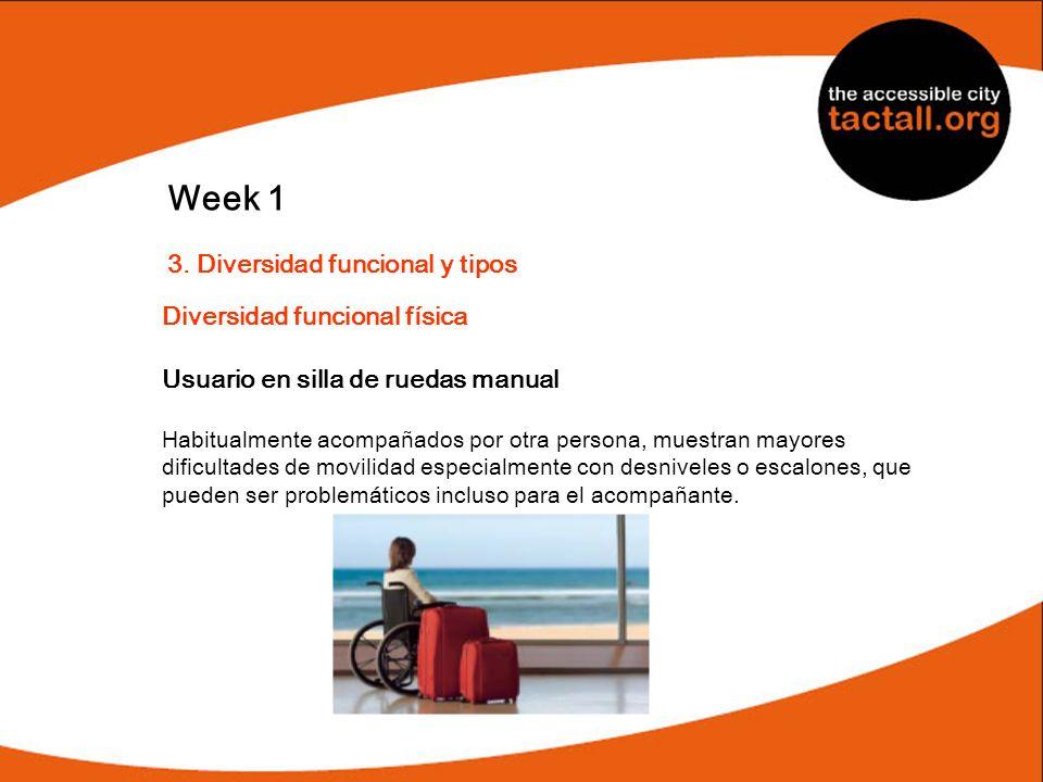 Week 1 3. Diversidad funcional y tipos Diversidad funcional física Usuario en silla de ruedas manual Habitualmente acompañados por otra persona, muest