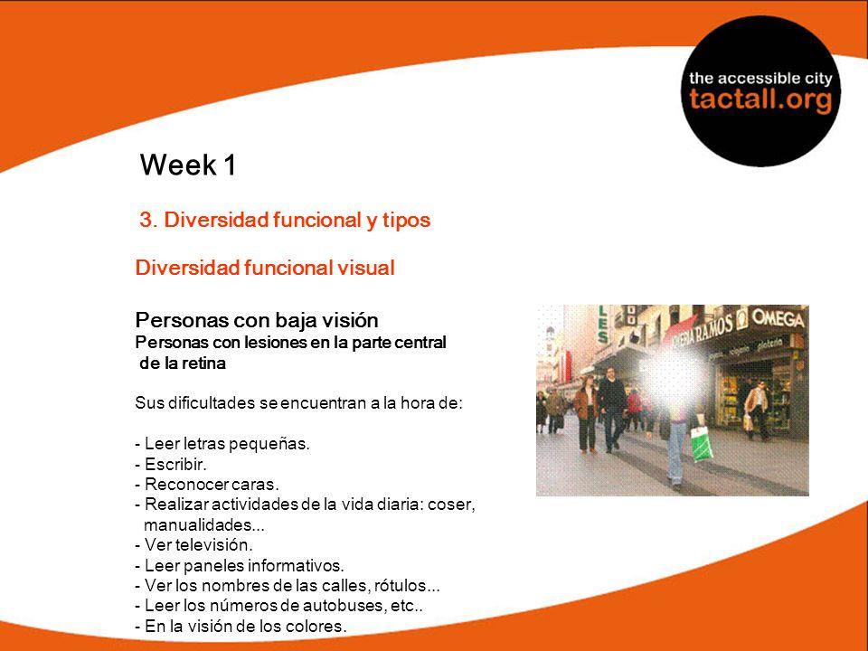 Week 1 3. Diversidad funcional y tipos Diversidad funcional visual Personas con baja visión Personas con lesiones en la parte central de la retina Sus