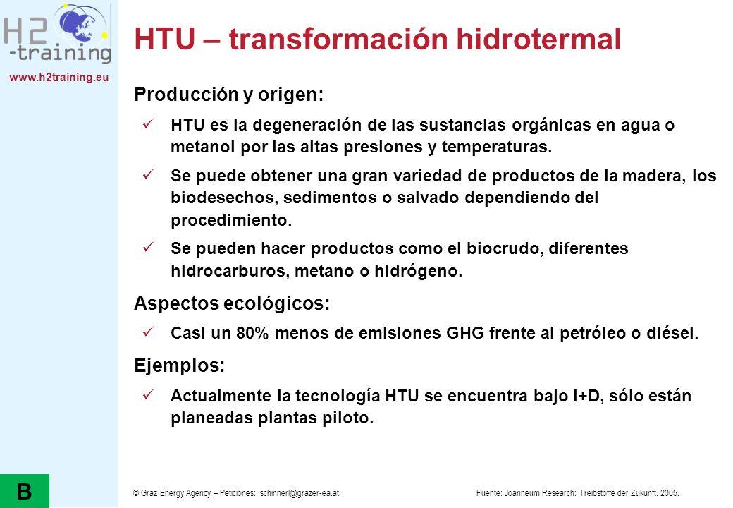 www.h2training.eu HTU – transformación hidrotermal Producción y origen: HTU es la degeneración de las sustancias orgánicas en agua o metanol por las a