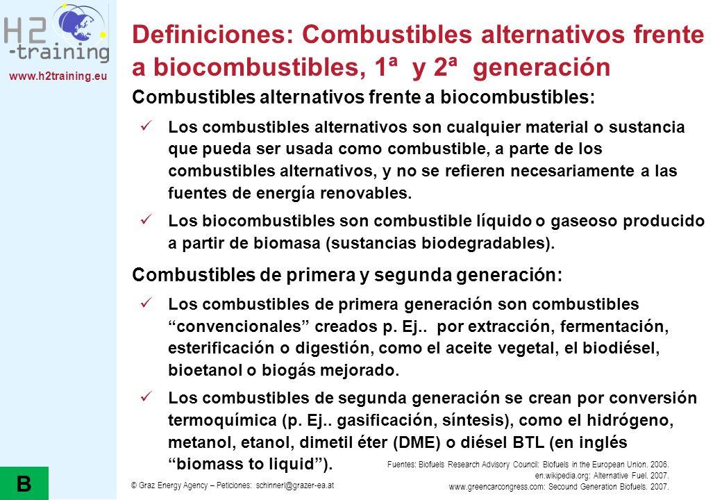 www.h2training.eu Definiciones: Combustibles alternativos frente a biocombustibles, 1ª y 2ª generación Combustibles alternativos frente a biocombustib