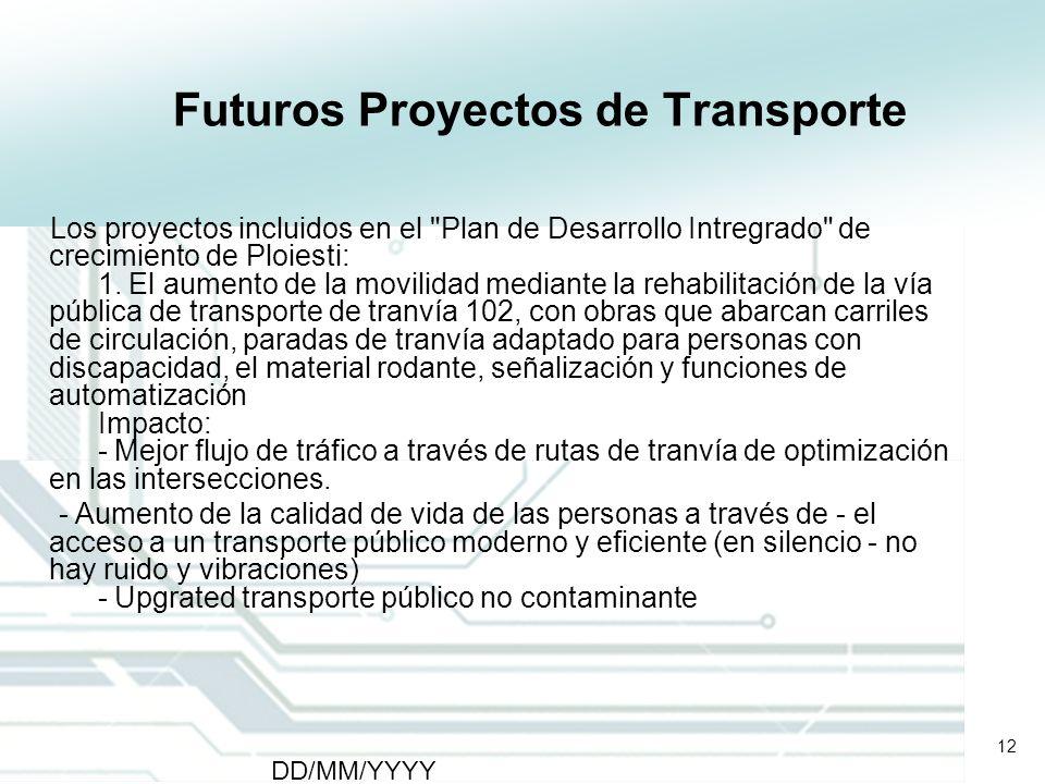 12 DD/MM/YYYY CATS - Type of meeting - Place 12 Futuros Proyectos de Transporte Los proyectos incluidos en el