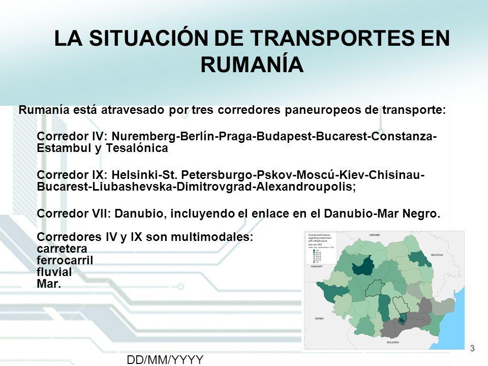 3 DD/MM/YYYY CATS - Type of meeting - Place 3 LA SITUACIÓN DE TRANSPORTES EN RUMANÍA Rumanía está atravesado por tres corredores paneuropeos de transp