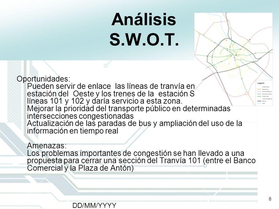 8 DD/MM/YYYY CATS - Type of meeting - Place 8 Análisis S.W.O.T. Oportunidades: Pueden servir de enlace las líneas de tranvía entre los trenes de la es