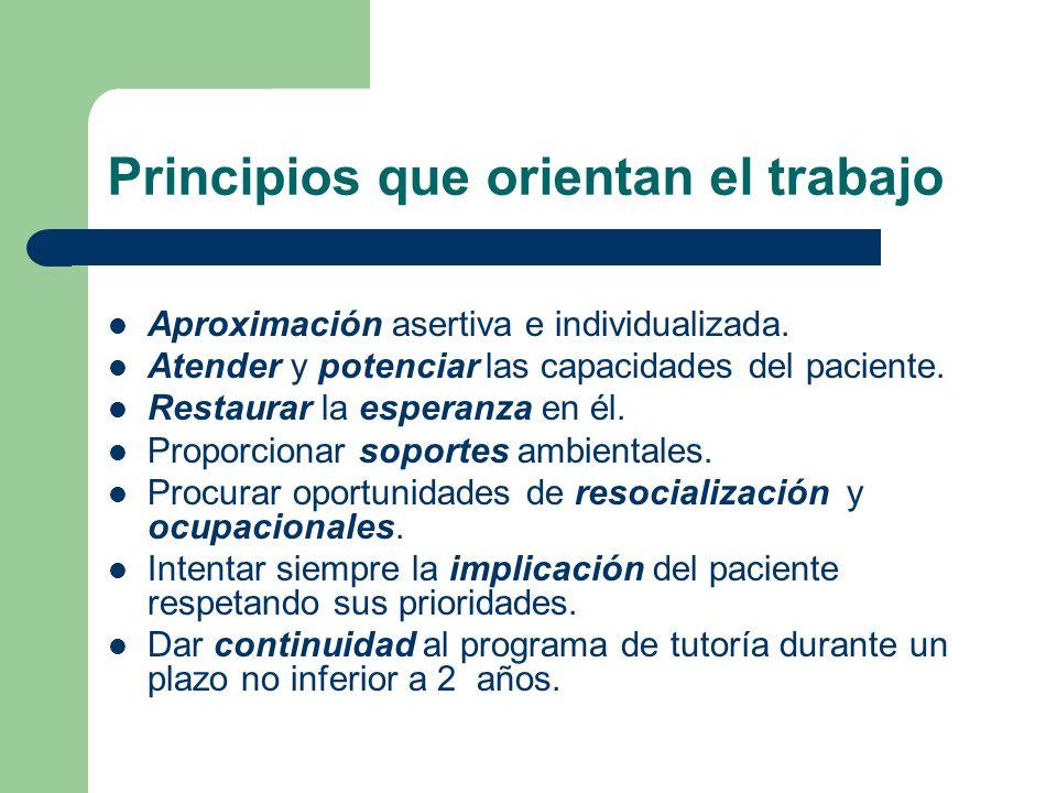 Principios que orientan el trabajo Aproximación asertiva e individualizada. Atender y potenciar las capacidades del paciente. Restaurar la esperanza e