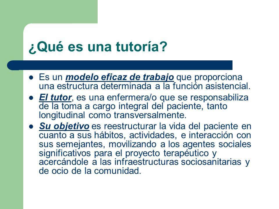 ¿Qué es una tutoría? Es un modelo eficaz de trabajo que proporciona una estructura determinada a la función asistencial. El tutor, es una enfermera/o