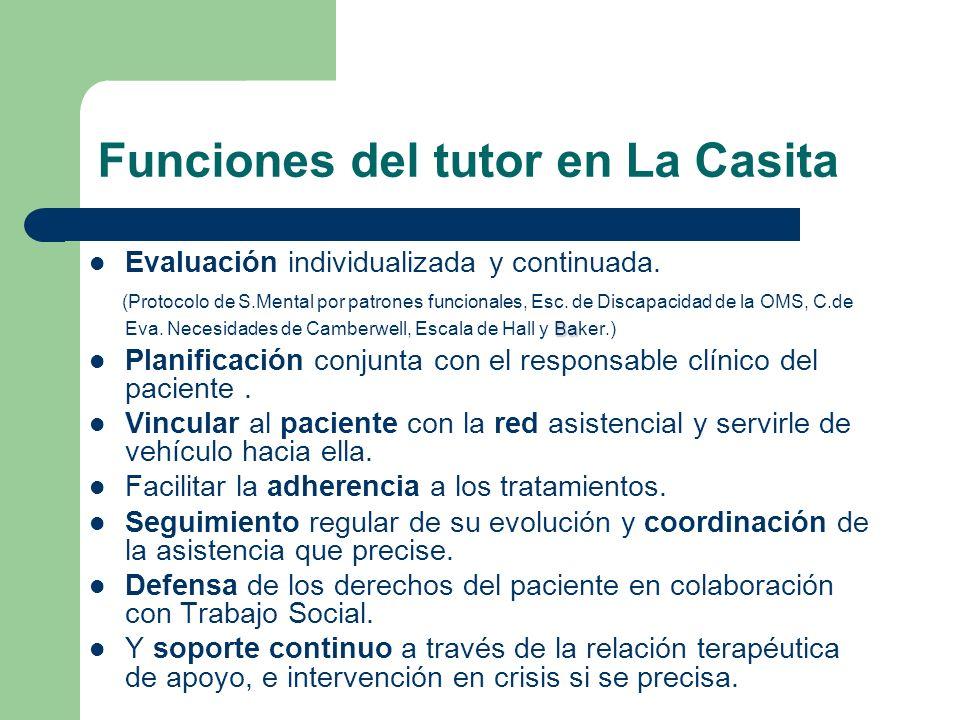 Funciones del tutor en La Casita Evaluación individualizada y continuada. Ba (Protocolo de S.Mental por patrones funcionales, Esc. de Discapacidad de
