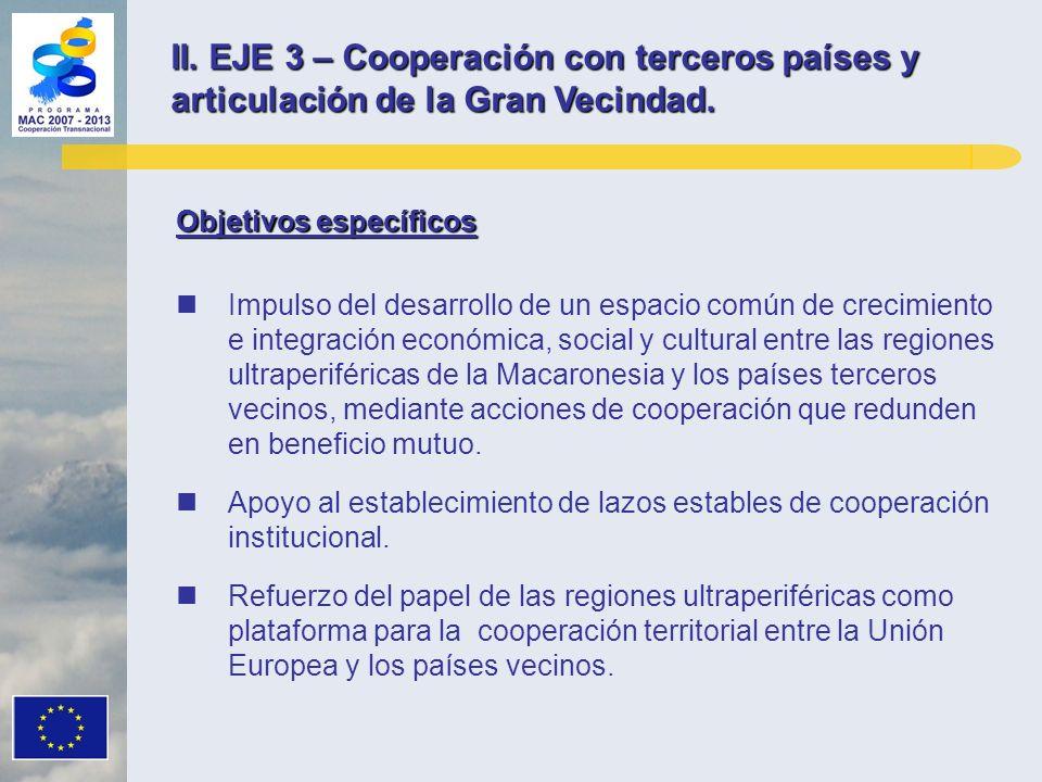 II. EJE 3 – Cooperación con terceros países y articulación de la Gran Vecindad. Objetivos específicos Impulso del desarrollo de un espacio común de cr