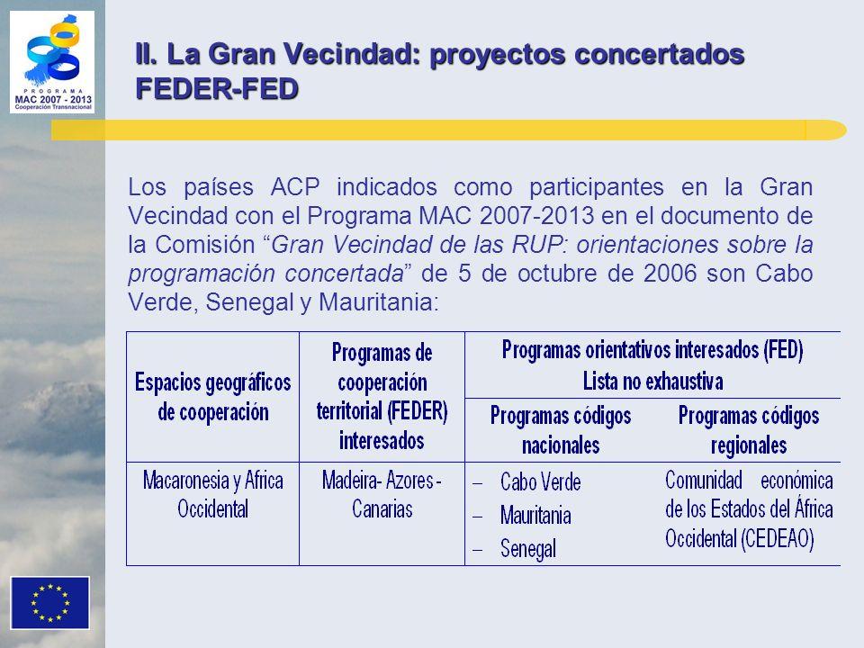 Los países ACP indicados como participantes en la Gran Vecindad con el Programa MAC 2007-2013 en el documento de la Comisión Gran Vecindad de las RUP: