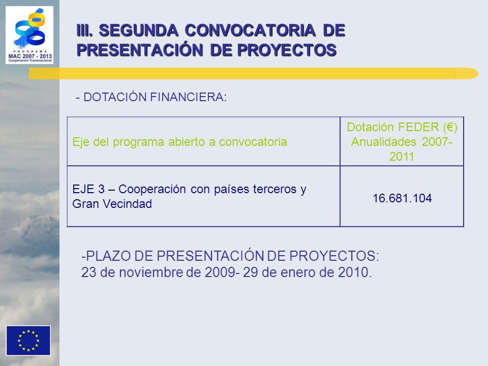 III. SEGUNDA CONVOCATORIA DE PRESENTACIÓN DE PROYECTOS Eje del programa abierto a convocatoria Dotación FEDER () Anualidades 2007- 2011 EJE 3 – Cooper