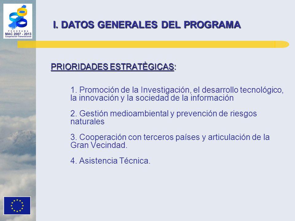 PRIORIDADES ESTRATÉGICAS: 1. Promoción de la Investigación, el desarrollo tecnológico, la innovación y la sociedad de la información 2. Gestión medioa