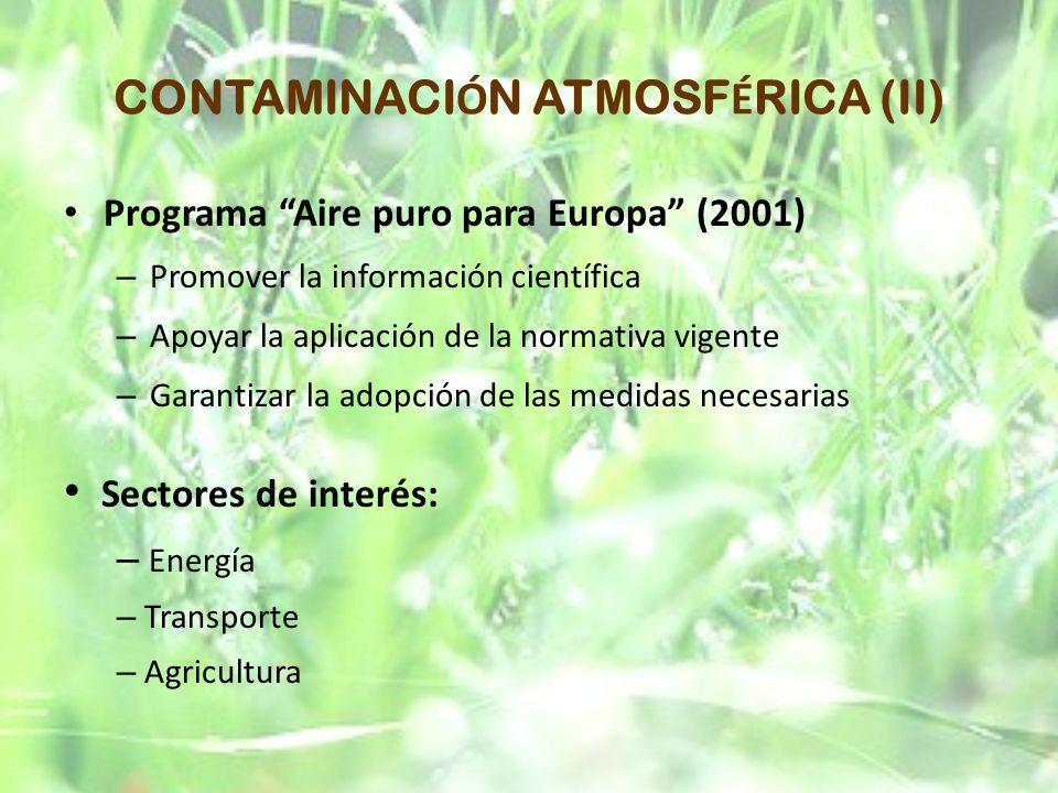 CONTAMINACI Ó N ATMOSF É RICA (II) Programa Aire puro para Europa (2001) – Promover la información científica – Apoyar la aplicación de la normativa v