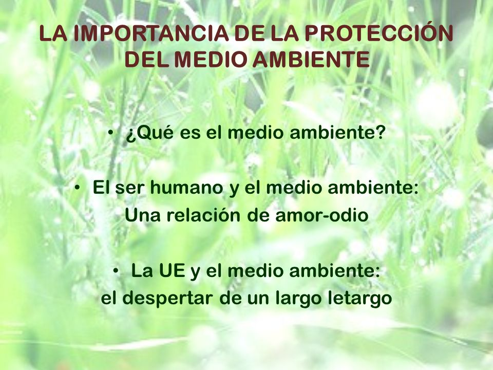 LA IMPORTANCIA DE LA PROTECCIÓN DEL MEDIO AMBIENTE ¿Qué es el medio ambiente? El ser humano y el medio ambiente: Una relación de amor-odio La UE y el