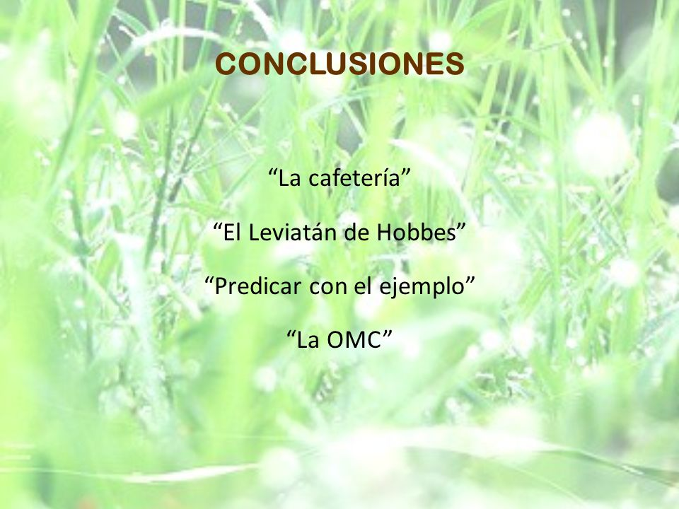 CONCLUSIONES La cafetería El Leviatán de Hobbes Predicar con el ejemplo La OMC