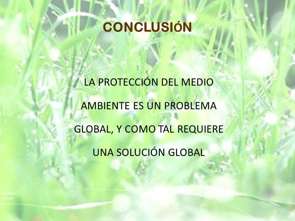 CONCLUSI Ó N LA PROTECCIÓN DEL MEDIO AMBIENTE ES UN PROBLEMA GLOBAL, Y COMO TAL REQUIERE UNA SOLUCIÓN GLOBAL