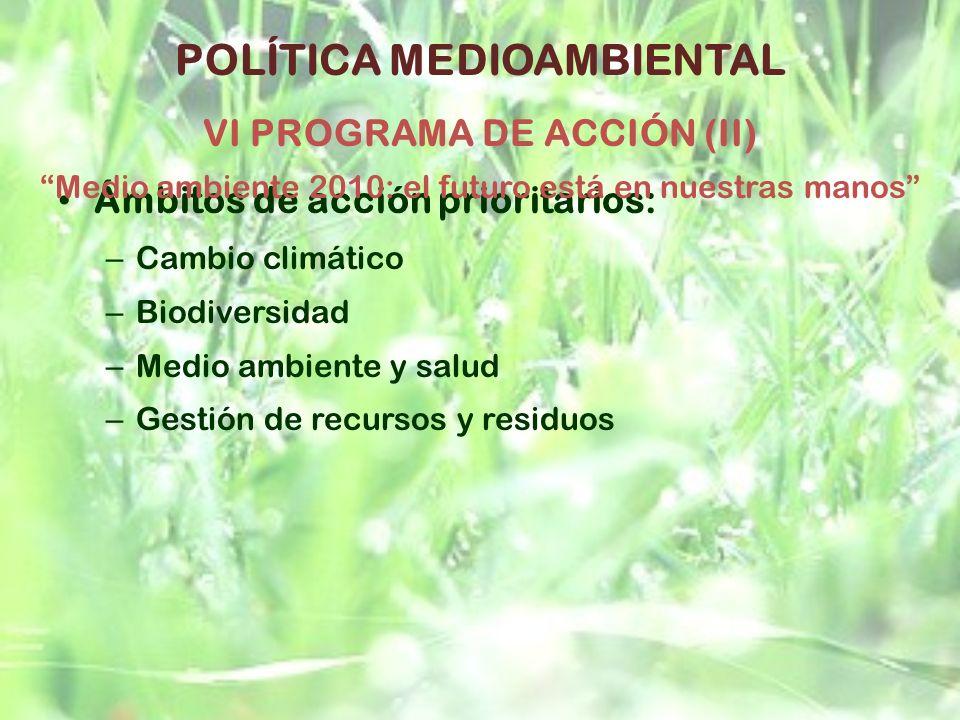 Ámbitos de acción prioritarios: – Cambio climático – Biodiversidad – Medio ambiente y salud – Gestión de recursos y residuos POLÍTICA MEDIOAMBIENTAL V