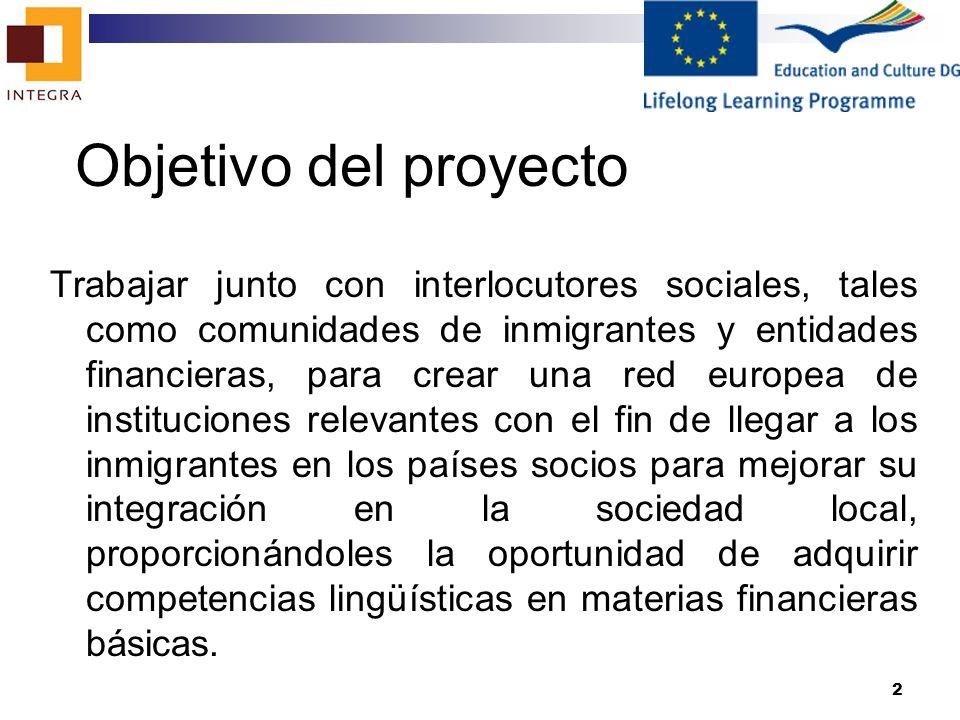 3 Características del proyecto Duración Inicio: 01-10-2010 final:30-09-2012 Número de socios – 10 Número de Paquetes de Trabajo – 7 Número de reuniones de los socios – 5