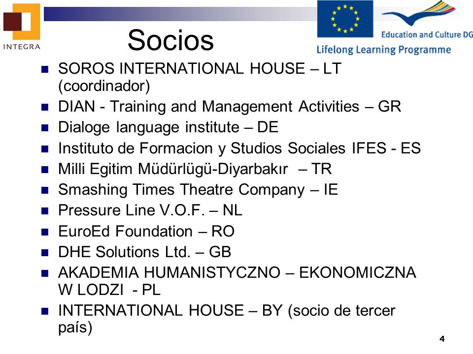 4 Socios SOROS INTERNATIONAL HOUSE – LT (coordinador) DIAN - Training and Management Activities – GR Dialoge language institute – DE Instituto de Form