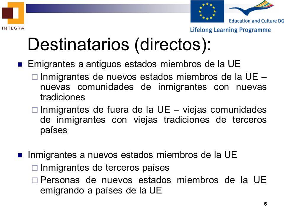 6 Destinatarios (indirectos): Organizaciones de comunidades de inmigrantes Institutos financieros Institutos educativos (educadores de adultos y expertos financieros implicados en formación) Otras organizaciones de apoyo a comunidades de inmigrantes