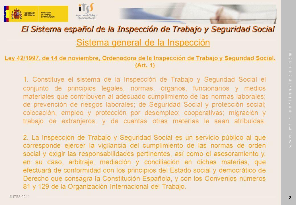 © ITSS 2011 w w w. m t i n. e s / i t s s / i n d e x.h t m l 2 El Sistema español de la Inspección de Trabajo y Seguridad Social Ley 42/1997, de 14 d
