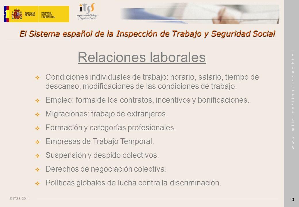 © ITSS 2011 w w w. m t i n. e s / i t s s / i n d e x.h t m l 3 El Sistema español de la Inspección de Trabajo y Seguridad Social Relaciones laborales