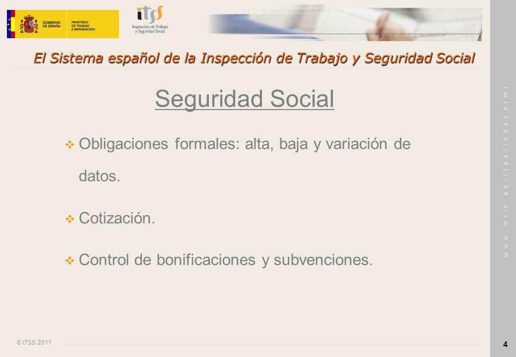 © ITSS 2011 w w w. m t i n. e s / i t s s / i n d e x.h t m l 4 El Sistema español de la Inspección de Trabajo y Seguridad Social Seguridad Social Obl
