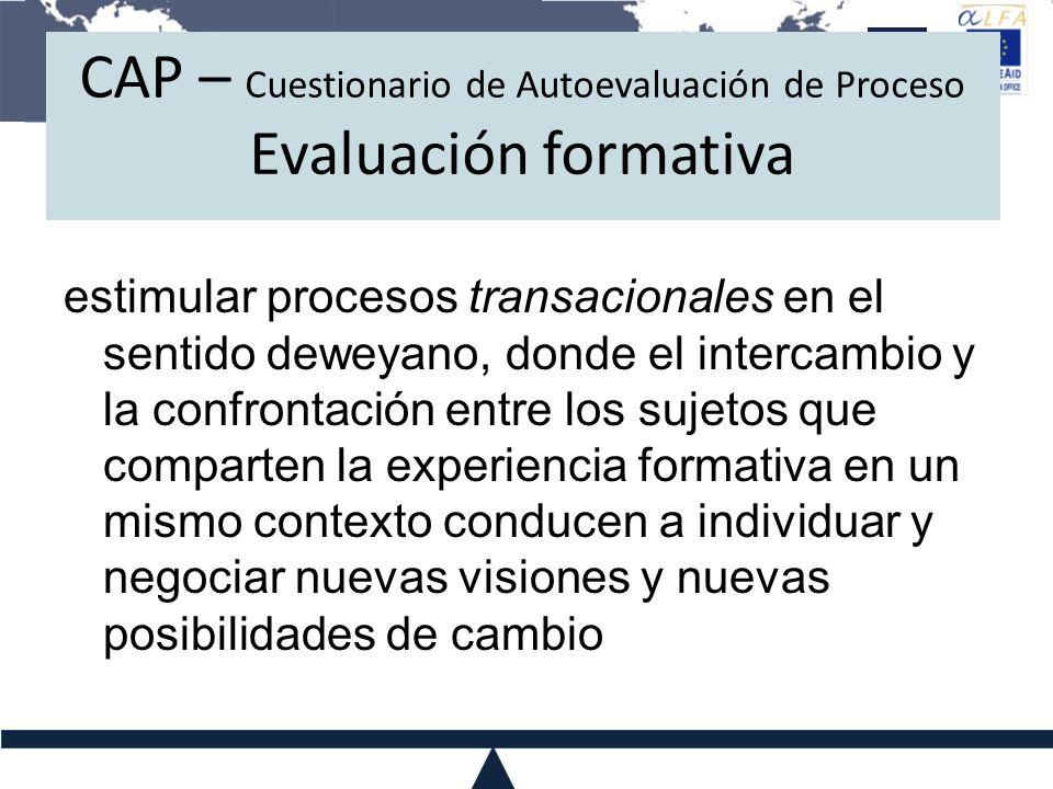 CAP – Cuestionario de Autoevaluación de Proceso Evaluación formativa estimular procesos transacionales en el sentido deweyano, donde el intercambio y