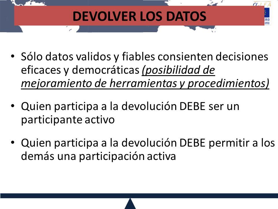 DEVOLVER LOS DATOS Sólo datos validos y fiables consienten decisiones eficaces y democráticas (posibilidad de mejoramiento de herramientas y procedimi
