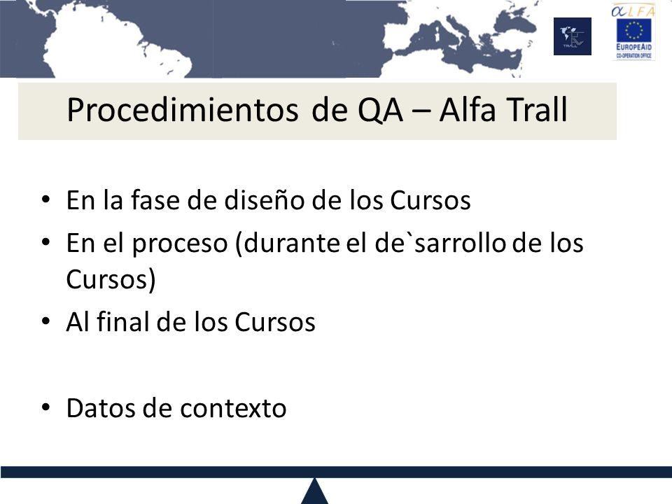 Procedimientos de QA – Alfa Trall En la fase de diseño de los Cursos En el proceso (durante el de`sarrollo de los Cursos) Al final de los Cursos Datos