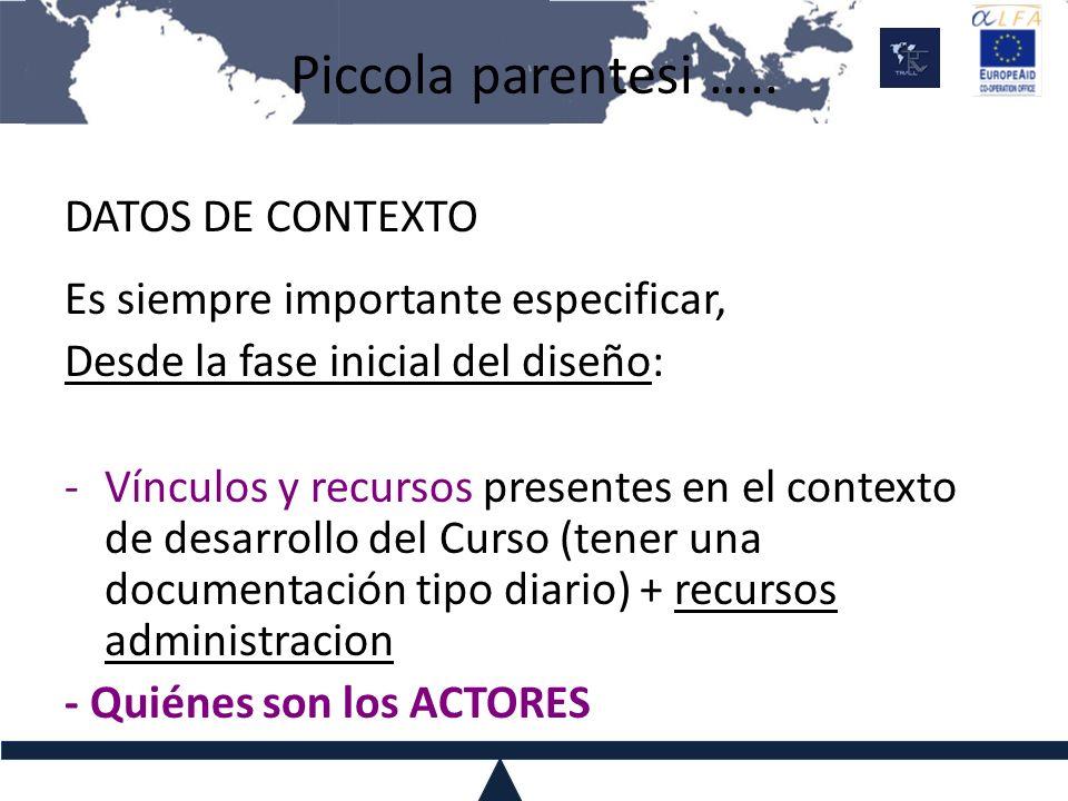 Piccola parentesi ….. DATOS DE CONTEXTO Es siempre importante especificar, Desde la fase inicial del diseño: -Vínculos y recursos presentes en el cont