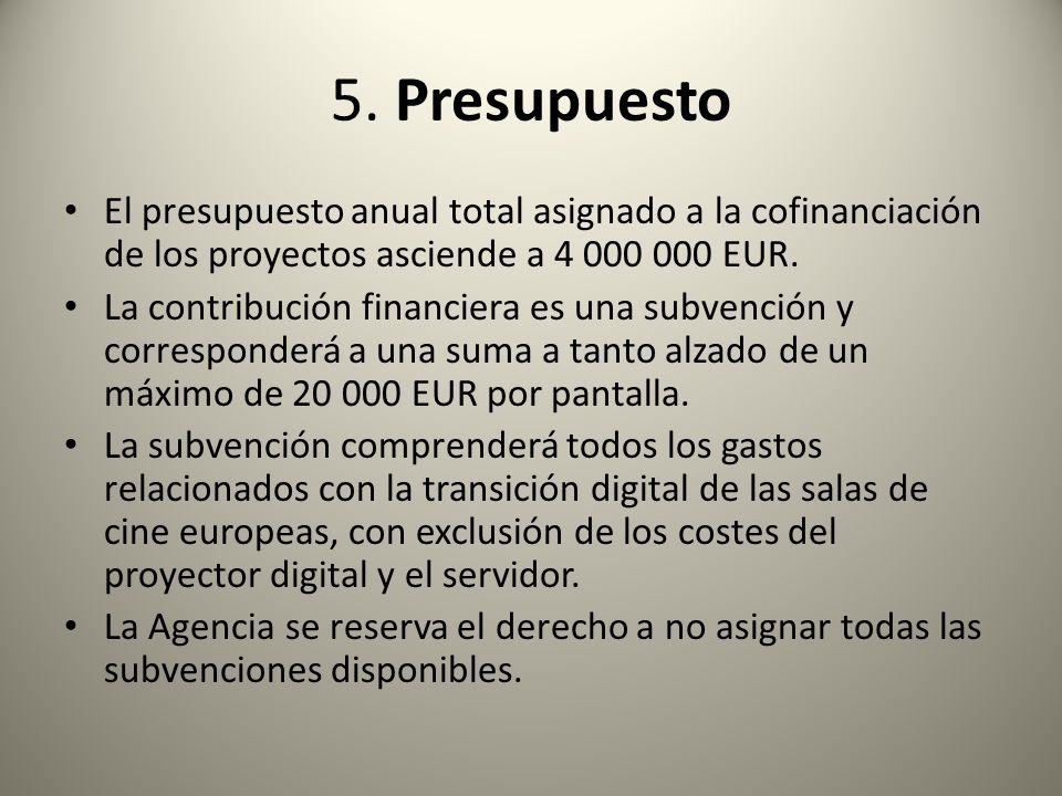 5. Presupuesto El presupuesto anual total asignado a la cofinanciación de los proyectos asciende a 4 000 000 EUR. La contribución financiera es una su