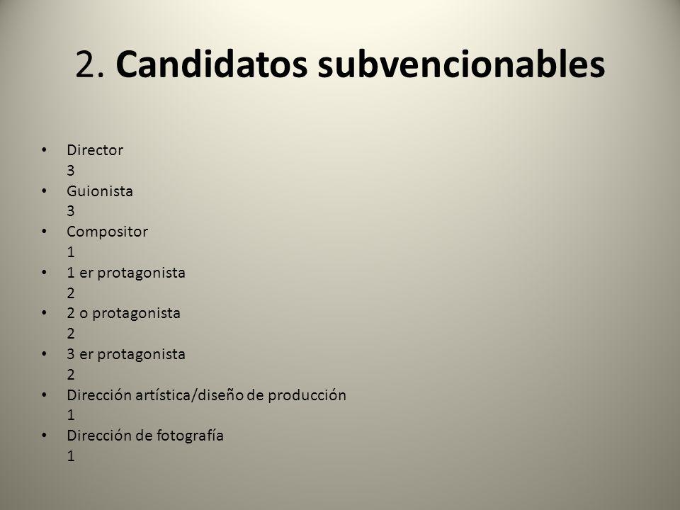 2. Candidatos subvencionables Director 3 Guionista 3 Compositor 1 1 er protagonista 2 2 o protagonista 2 3 er protagonista 2 Dirección artística/diseñ