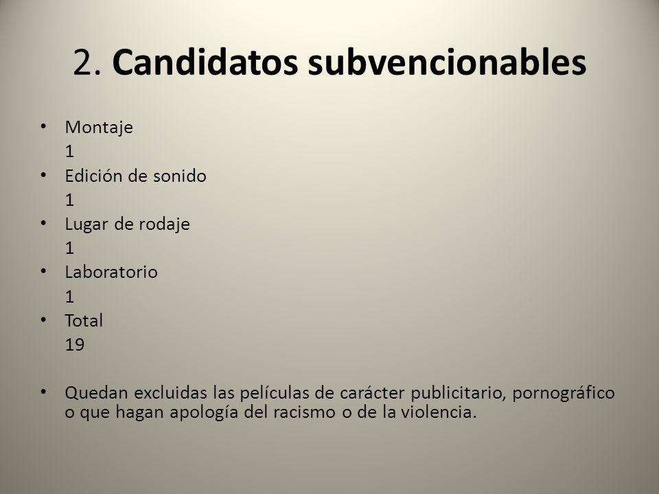 2. Candidatos subvencionables Montaje 1 Edición de sonido 1 Lugar de rodaje 1 Laboratorio 1 Total 19 Quedan excluidas las películas de carácter public