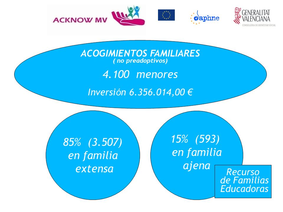 ACOGIMIENTOS FAMILIARES ( no preadoptivos) 4.100 menores Inversi ó n 6.356.014,00 85% (3.507) en familia extensa 15% (593) en familia ajena Recurso de