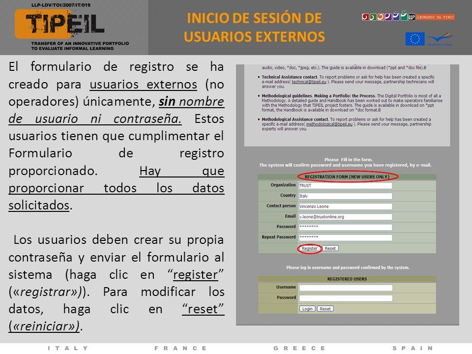 El formulario de registro se ha creado para usuarios externos (no operadores) únicamente, sin nombre de usuario ni contraseña. Estos usuarios tienen q