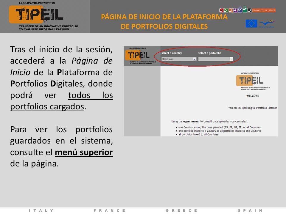 Tras el inicio de la sesión, accederá a la Página de Inicio de la Plataforma de Portfolios Digitales, donde podrá ver todos los portfolios cargados. P