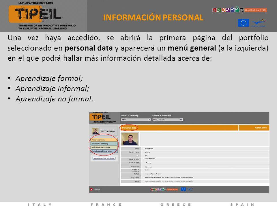 Una vez haya accedido, se abrirá la primera página del portfolio seleccionado en personal data y aparecerá un menú general (a la izquierda) en el que