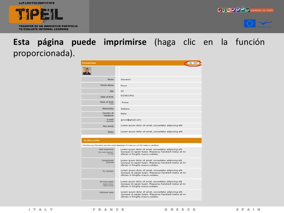 Esta página puede imprimirse (haga clic en la función proporcionada).