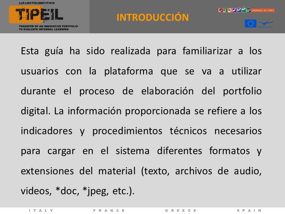 Esta guía ha sido realizada para familiarizar a los usuarios con la plataforma que se va a utilizar durante el proceso de elaboración del portfolio di