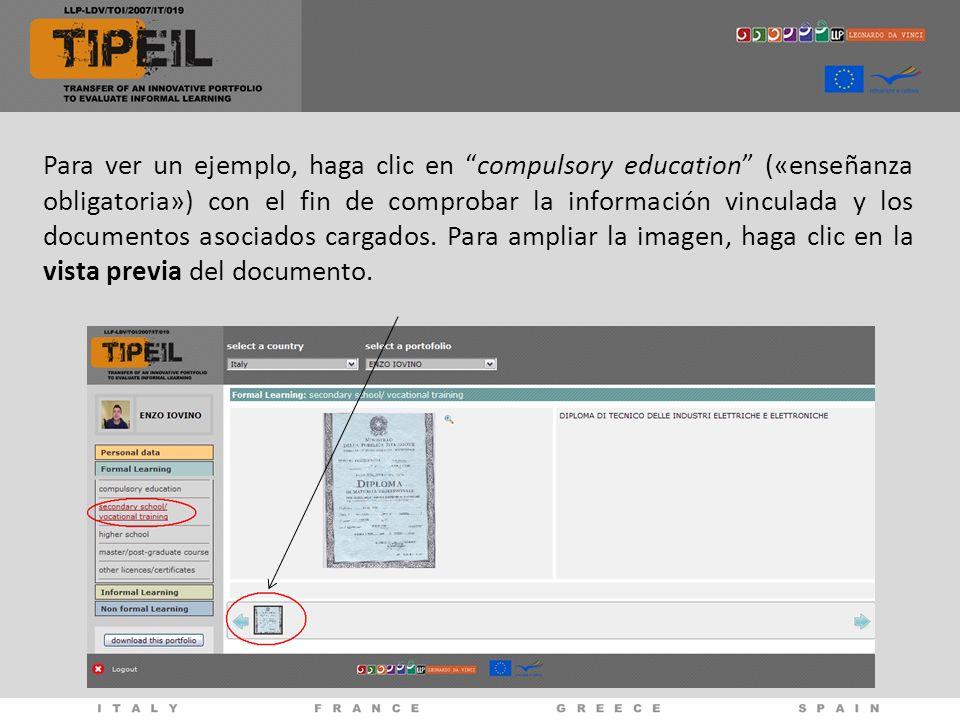 Para ver un ejemplo, haga clic en compulsory education («enseñanza obligatoria») con el fin de comprobar la información vinculada y los documentos aso