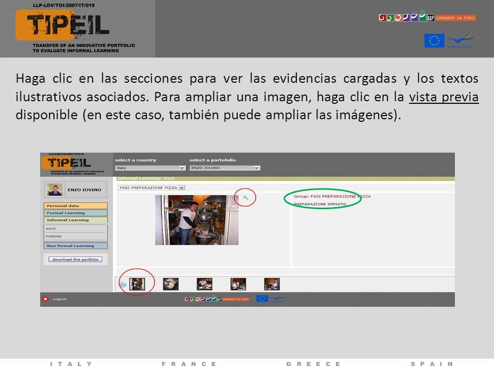 Haga clic en las secciones para ver las evidencias cargadas y los textos ilustrativos asociados. Para ampliar una imagen, haga clic en la vista previa