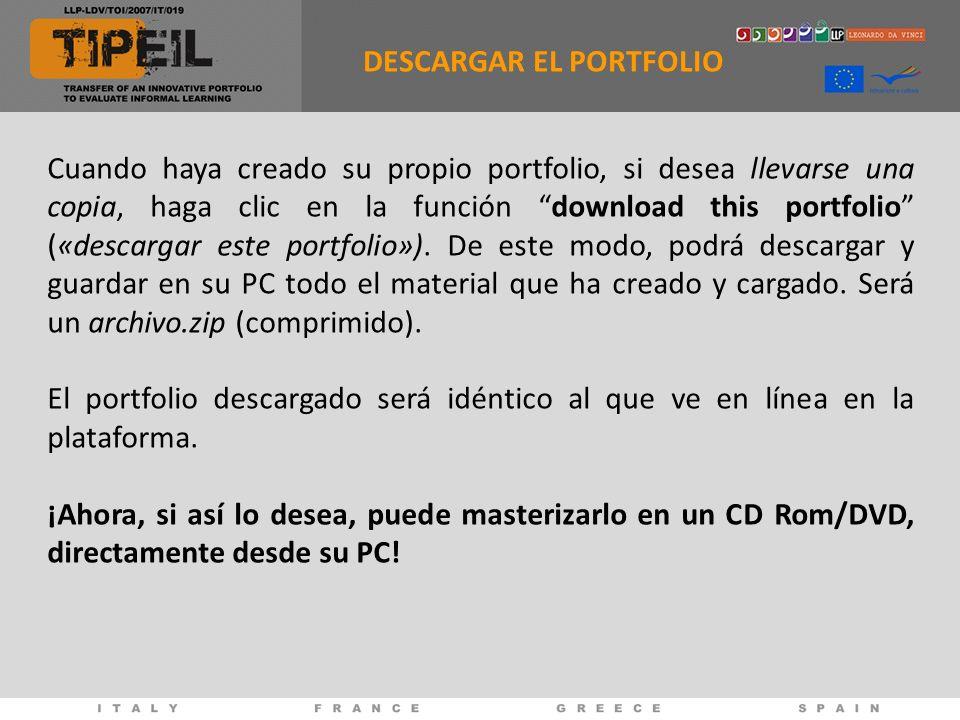 Cuando haya creado su propio portfolio, si desea llevarse una copia, haga clic en la función download this portfolio («descargar este portfolio»). De