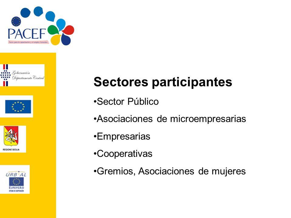 Sectores participantes Sector Público Asociaciones de microempresarias Empresarias Cooperativas Gremios, Asociaciones de mujeres