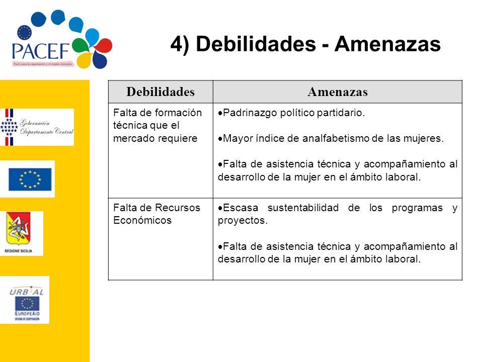 4) Debilidades - Amenazas DebilidadesAmenazas Falta de formación técnica que el mercado requiere Padrinazgo político partidario. Mayor índice de analf