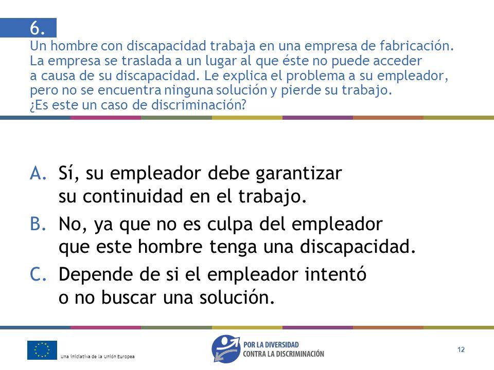 Una iniciativa de la Unión Europea 12 6. Un hombre con discapacidad trabaja en una empresa de fabricación. La empresa se traslada a un lugar al que és