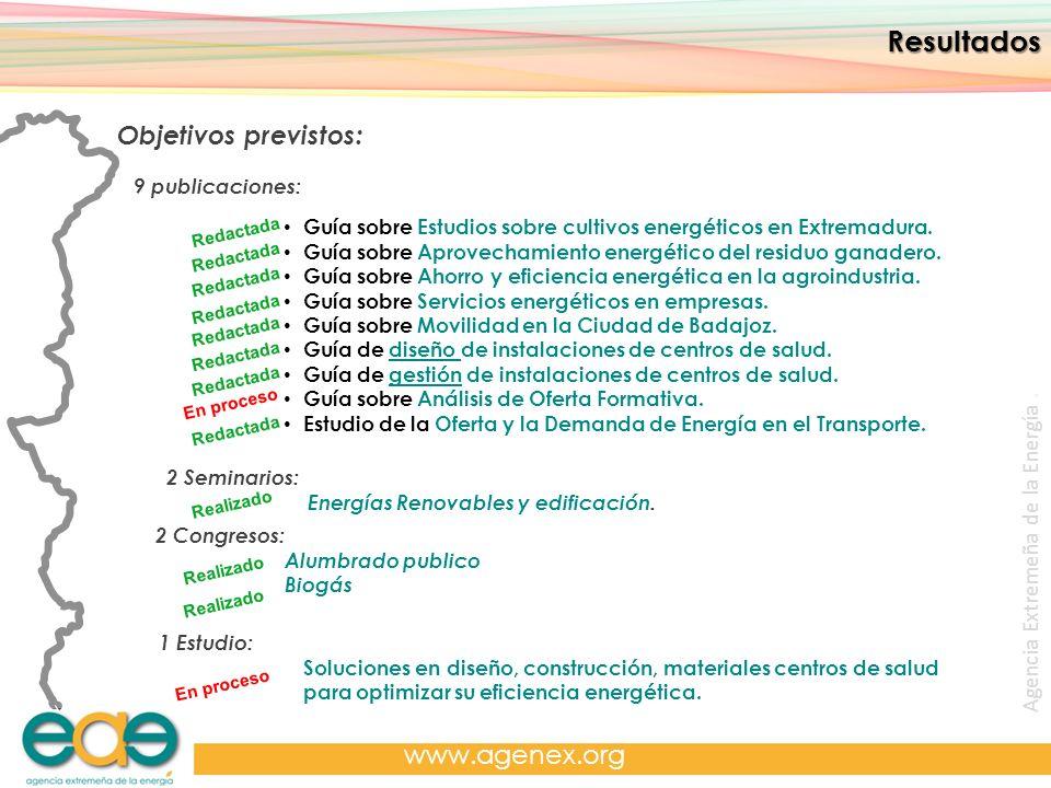 Agencia Extremeña de la Energía. www.agenex.org Resultados Objetivos previstos: 9 publicaciones: Guía sobre Estudios sobre cultivos energéticos en Ext