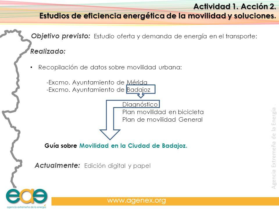 Agencia Extremeña de la Energía. www.agenex.org Actividad 1. Acción 2. Estudios de eficiencia energética de la movilidad y soluciones Estudios de efic
