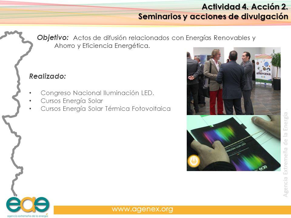 Agencia Extremeña de la Energía. www.agenex.org Actividad 4. Acción 2. Seminarios y acciones de divulgación Objetivo: Actos de difusión relacionados c